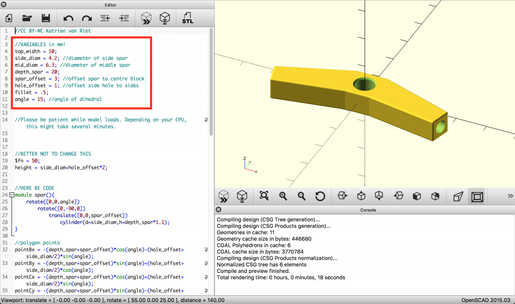 OpenSCAD screenshot variables
