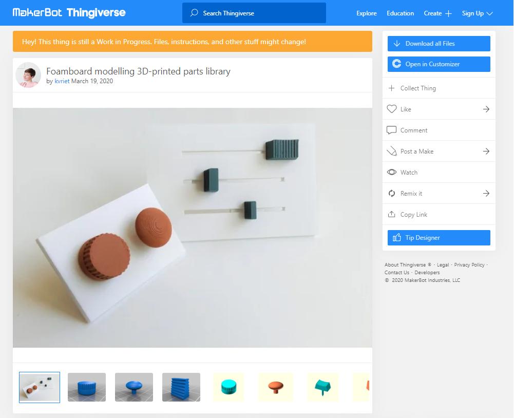 screenshot Thingiverse